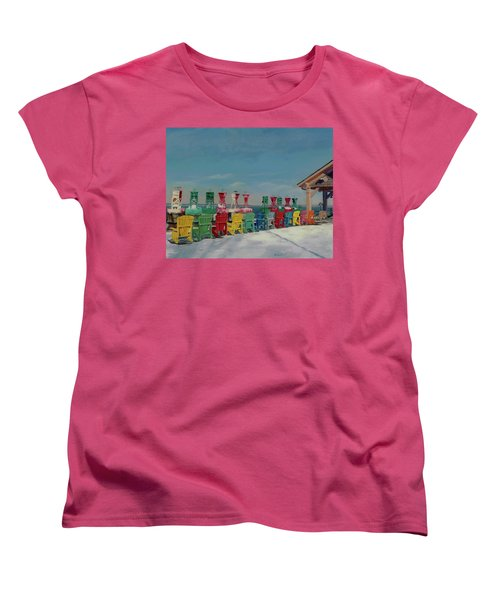 Women's T-Shirt (Standard Cut) featuring the painting Winter Sentries by Lynne Reichhart