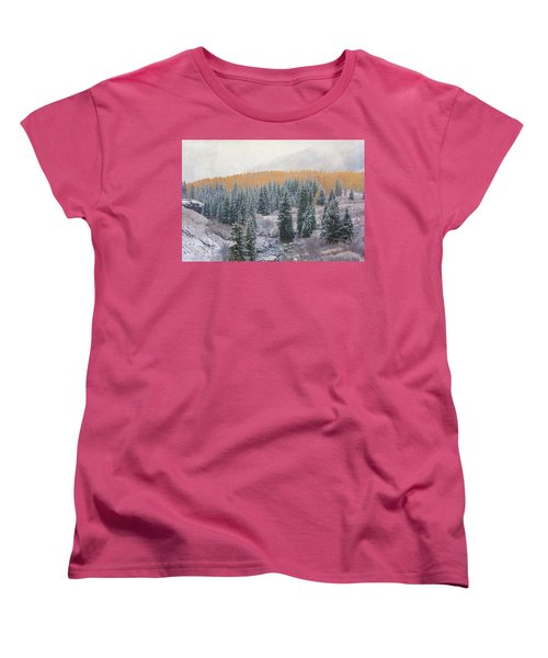 Women's T-Shirt (Standard Cut) featuring the photograph Winter Touches The Mountain by Kristal Kraft