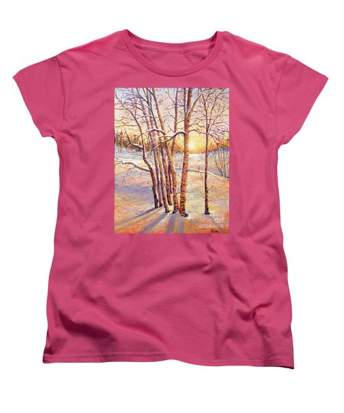 Winter Trees Sunrise Women's T-Shirt (Standard Cut) by Lou Ann Bagnall