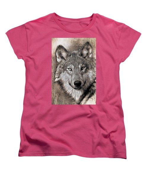 Women's T-Shirt (Standard Cut) featuring the digital art Wolf  by Aaron Berg