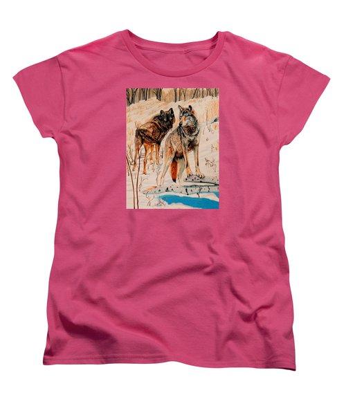 Wolves At Day Break Women's T-Shirt (Standard Cut) by Cheryl Poland