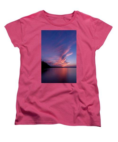 Women's T-Shirt (Standard Cut) featuring the photograph Wonderful Skeleton Lake Sunset by Darcy Michaelchuk