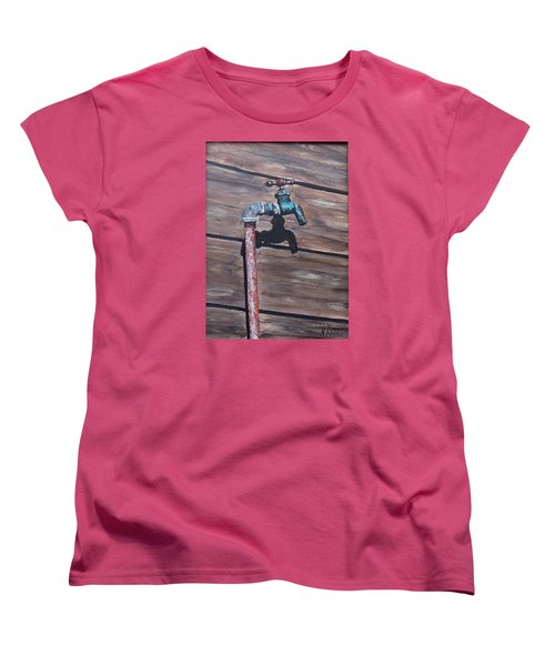 Women's T-Shirt (Standard Cut) featuring the painting Wood And Metal by Natalia Tejera