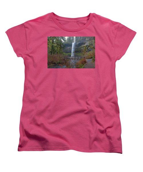 Wood Bridge On Hiking Trail At Silver Falls State Park Women's T-Shirt (Standard Fit)