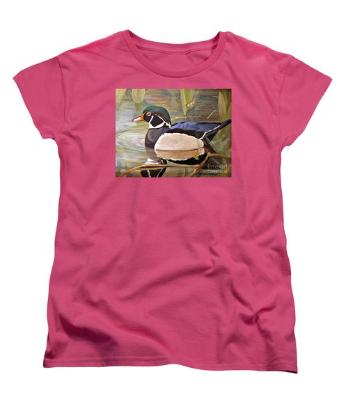 Women's T-Shirt (Standard Cut) featuring the painting Wood Duck On Pond by Laurie Rohner