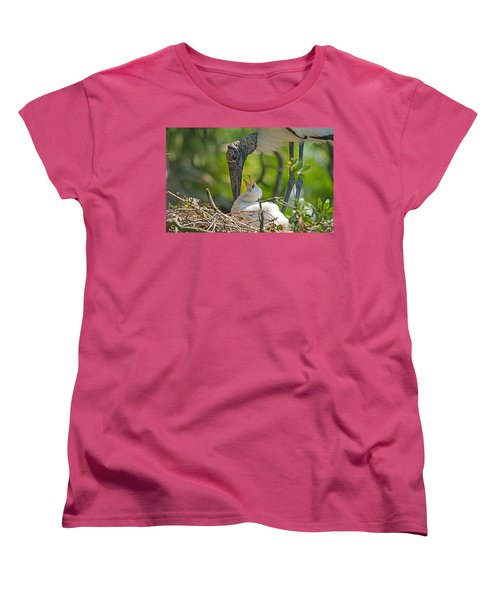 Wood Stork Chick And Mom Women's T-Shirt (Standard Cut) by Kenneth Albin
