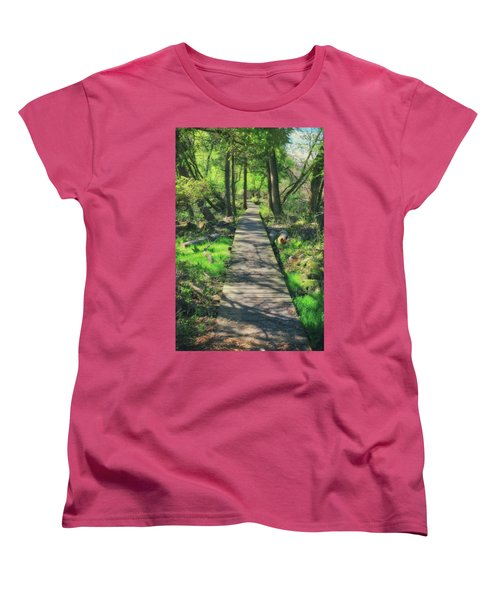 Wooded Path - Spring At Retzer Nature Center Women's T-Shirt (Standard Cut) by Jennifer Rondinelli Reilly - Fine Art Photography