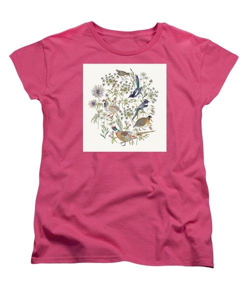 Woodland Edge Birds Placement Women's T-Shirt (Standard Cut) by Jacqueline Colley