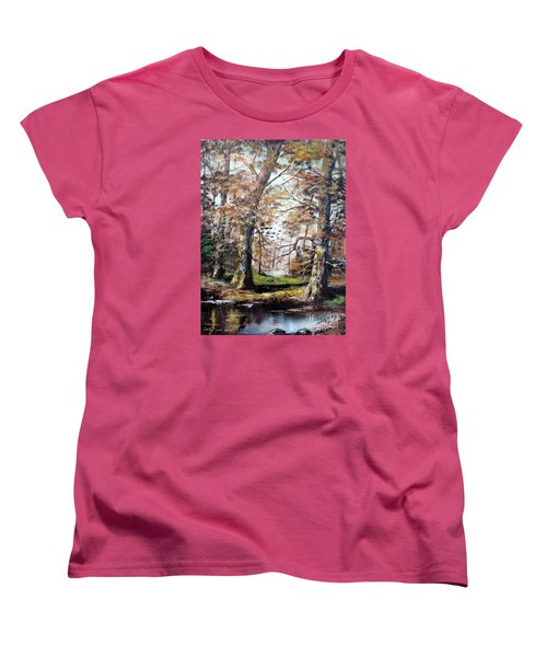 Women's T-Shirt (Standard Cut) featuring the painting Woodland Pond  by Lee Piper