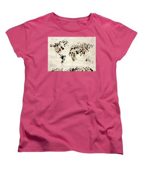 Women's T-Shirt (Standard Cut) featuring the digital art World Map Music 1 by Bekim Art