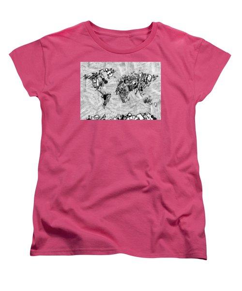 Women's T-Shirt (Standard Cut) featuring the digital art World Map Music 2 by Bekim Art