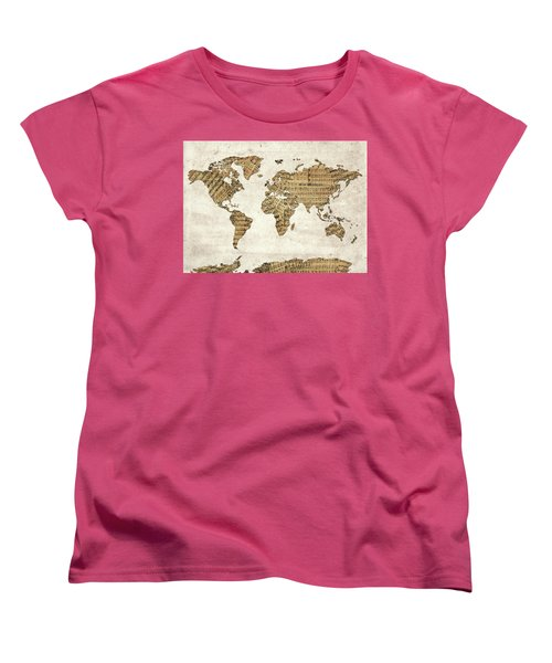 Women's T-Shirt (Standard Cut) featuring the digital art World Map Music 9 by Bekim Art