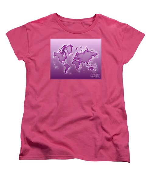 World Map Opala In Purple And White Women's T-Shirt (Standard Cut) by Eleven Corners