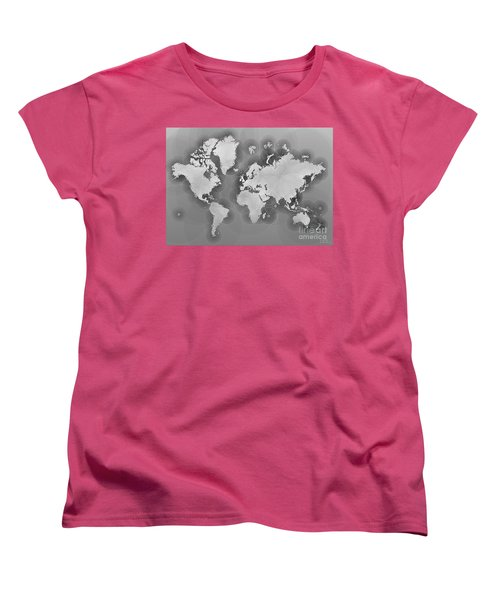 World Map Zona In Black And White Women's T-Shirt (Standard Cut) by Eleven Corners