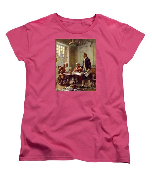 Writing The Declaration Of Independence, 1776, Women's T-Shirt (Standard Cut) by Leon Gerome Ferris