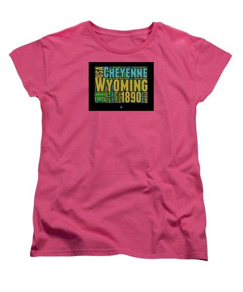 Wyoming Word Cloud Map 1 Women's T-Shirt (Standard Cut) by Naxart Studio