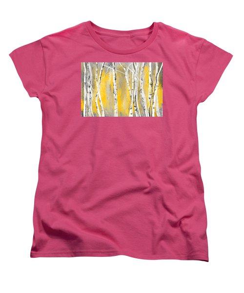 Yellow And Gray Birch Trees Women's T-Shirt (Standard Cut) by Lourry Legarde