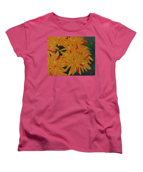 Yellow Chrysanthemums Women's T-Shirt (Standard Cut) by Hilda and Jose Garrancho