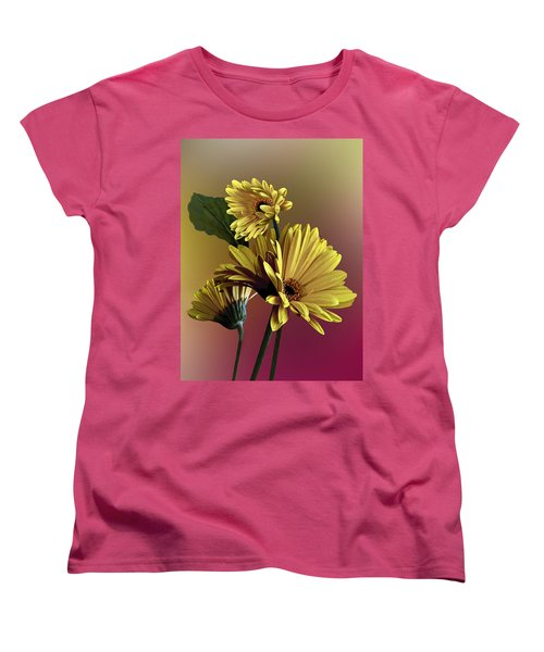 Yellow Daisy Trio Women's T-Shirt (Standard Cut) by Judy  Johnson