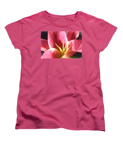 Yellow Fingers, Pink Blush Women's T-Shirt (Standard Cut) by Terry Cork