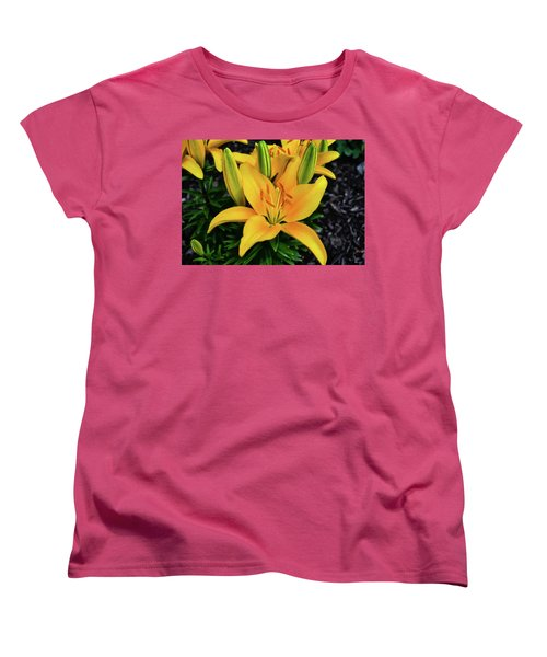 Women's T-Shirt (Standard Cut) featuring the photograph Yellow Lily 008 by George Bostian