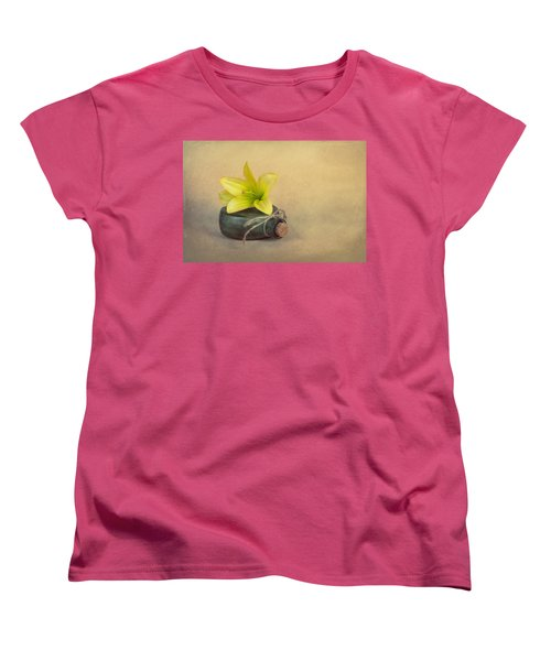 Women's T-Shirt (Standard Cut) featuring the photograph Yellow Lily And Green Bottle by Tom Mc Nemar