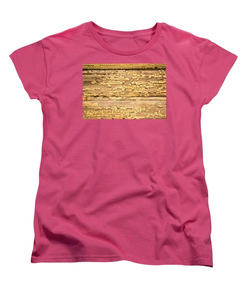 Women's T-Shirt (Standard Cut) featuring the photograph Yellow Painted Aged Wood by John Williams