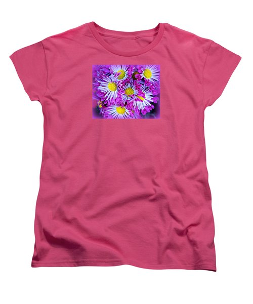 Yellow Purple And White Women's T-Shirt (Standard Cut) by AJ  Schibig