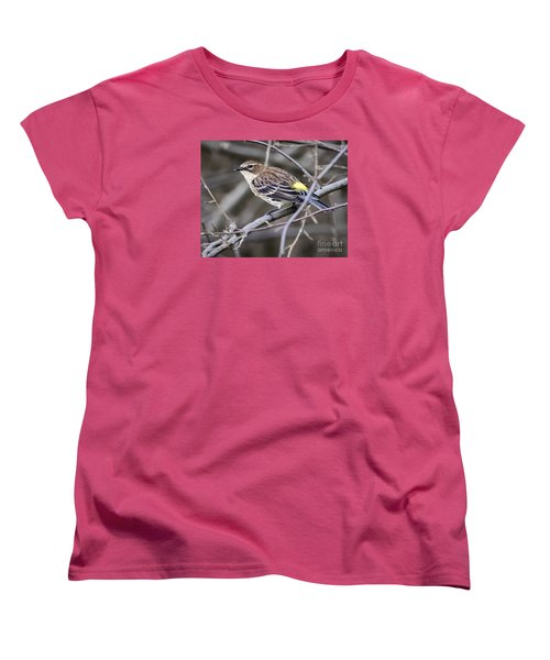 Women's T-Shirt (Standard Cut) featuring the photograph Yellow-rumped Warber In Fall Colors by Ricky L Jones