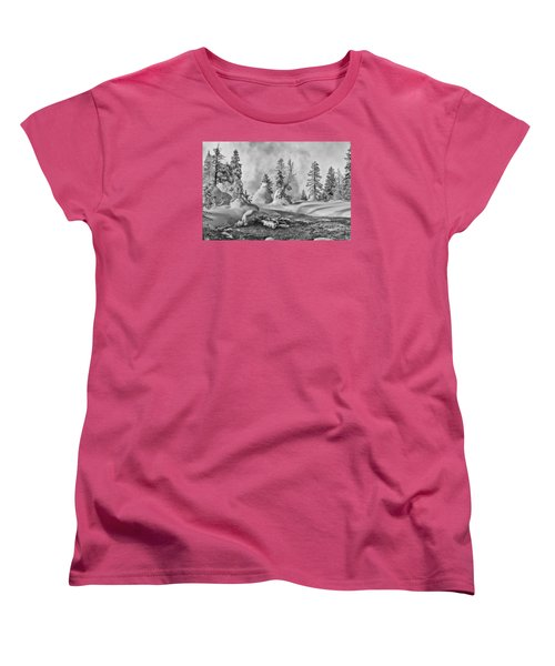 Women's T-Shirt (Standard Cut) featuring the photograph Yellowstone In Winter by Gary Lengyel