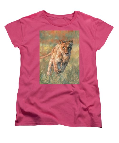 Women's T-Shirt (Standard Cut) featuring the painting Youn Lion by David Stribbling