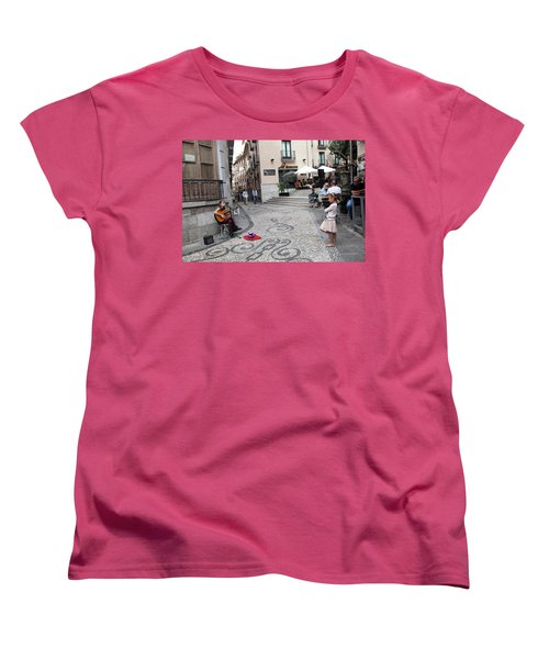 Women's T-Shirt (Standard Cut) featuring the photograph Young Girl Listening To Guitar - Grenada - Spain by Madeline Ellis