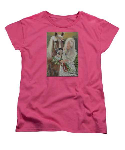 Young Woman With Horse Women's T-Shirt (Standard Cut) by Francine Heykoop