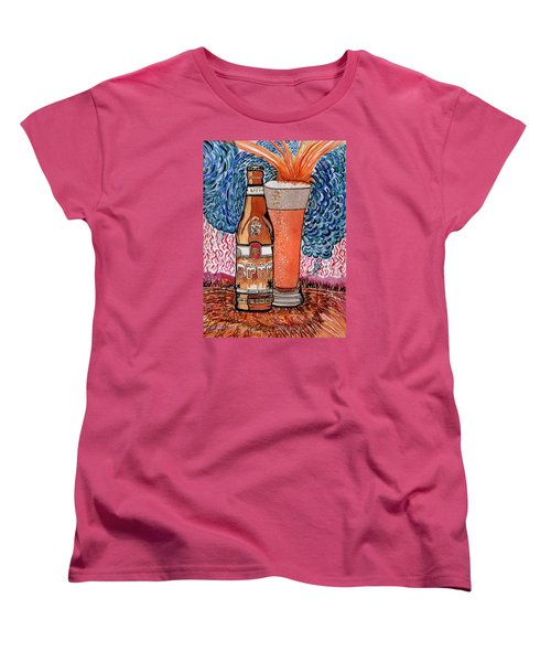 Women's T-Shirt (Standard Cut) featuring the painting Yum Burr Hyf. Beer by Connie Valasco