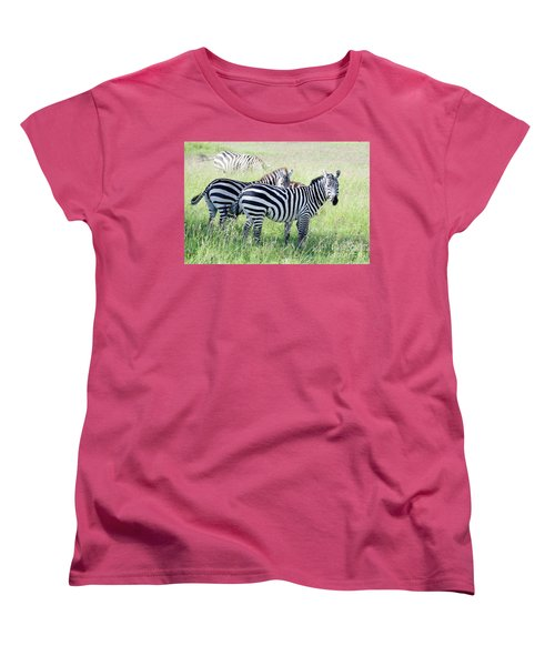 Zebras In Serengeti Women's T-Shirt (Standard Cut) by Pravine Chester
