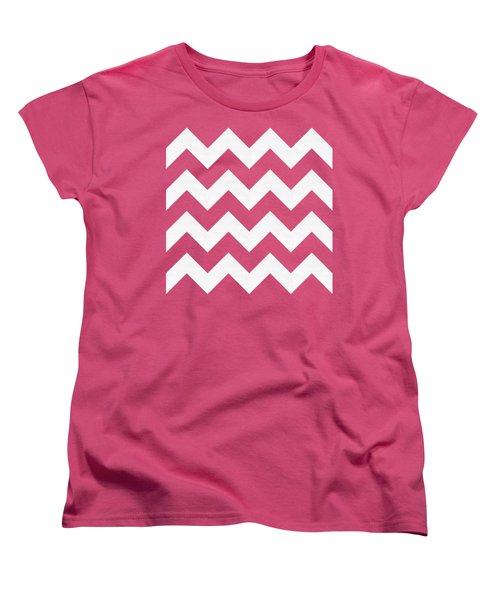Women's T-Shirt (Standard Cut) featuring the digital art Zig Zag - White - Transparent by Chuck Staley