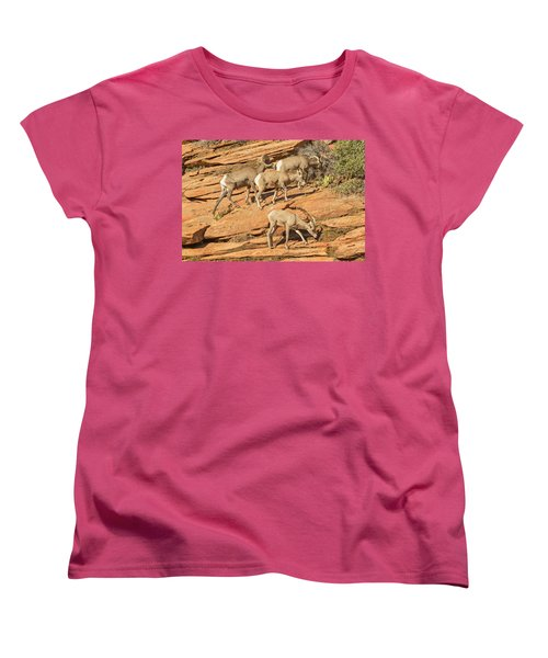 Women's T-Shirt (Standard Cut) featuring the photograph Zion Big Horn Sheep by Peter J Sucy