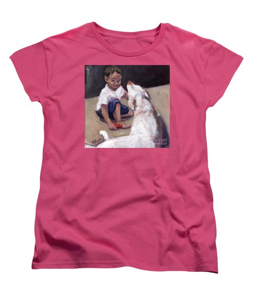 Women's T-Shirt (Standard Cut) featuring the painting Zoom Groom by Molly Poole