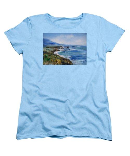 Women's T-Shirt (Standard Cut) featuring the painting  Big Sur Coastline by Eric  Schiabor