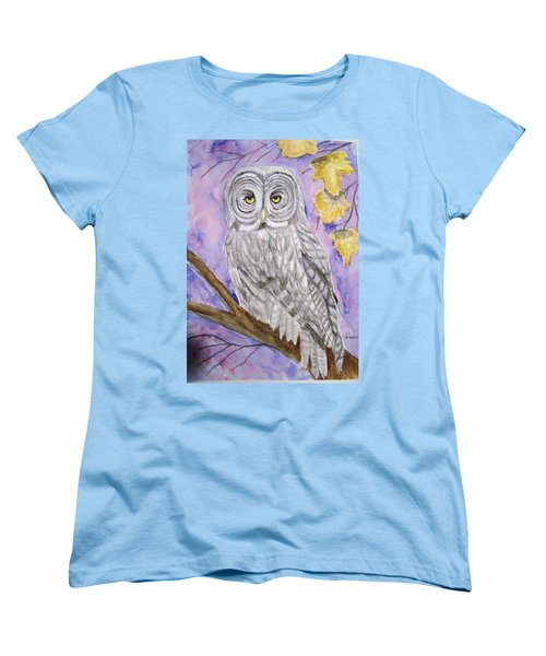Women's T-Shirt (Standard Cut) featuring the painting  Grey Owl by Belinda Lawson