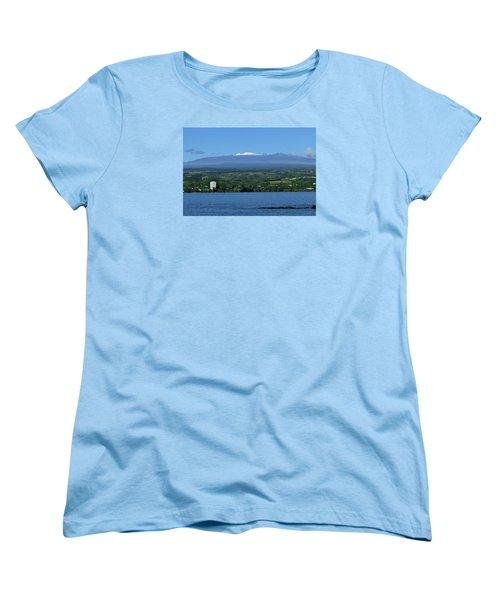 Women's T-Shirt (Standard Cut) featuring the photograph  Hawaii's Snow Above Hilo Bay Hawaii by Lehua Pekelo-Stearns