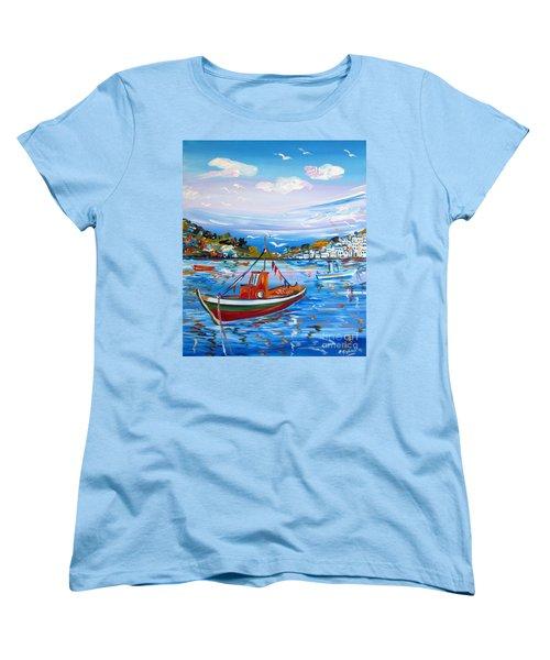 Women's T-Shirt (Standard Cut) featuring the painting  Little Fisherman Boat  by Roberto Gagliardi