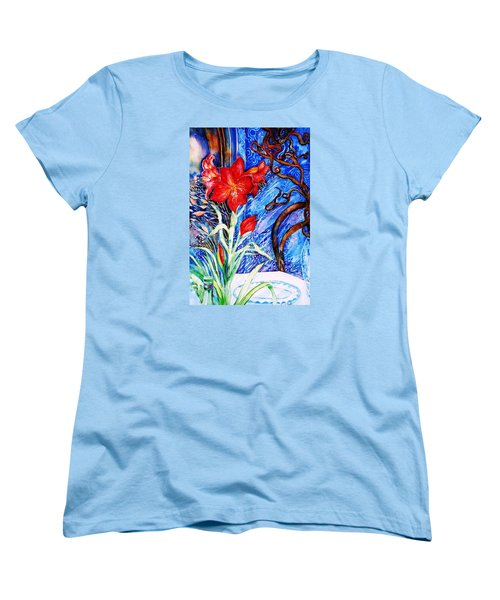 Women's T-Shirt (Standard Cut) featuring the painting  Red Amaryllis  by Trudi Doyle