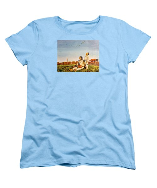 Women's T-Shirt (Standard Cut) featuring the painting End Of The Summer- The Storks by Henryk Gorecki