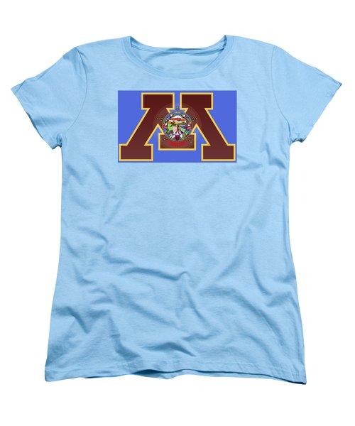 U Of M Minnesota State Flag Women's T-Shirt (Standard Cut) by Daniel Hagerman