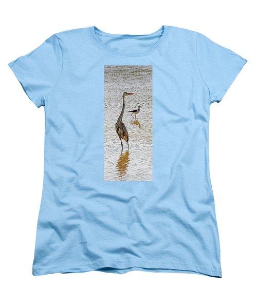 Blue Heron And Stilt Women's T-Shirt (Standard Cut) by Tom Janca