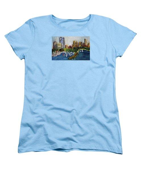Boston Skyline Women's T-Shirt (Standard Cut) by Michael Helfen