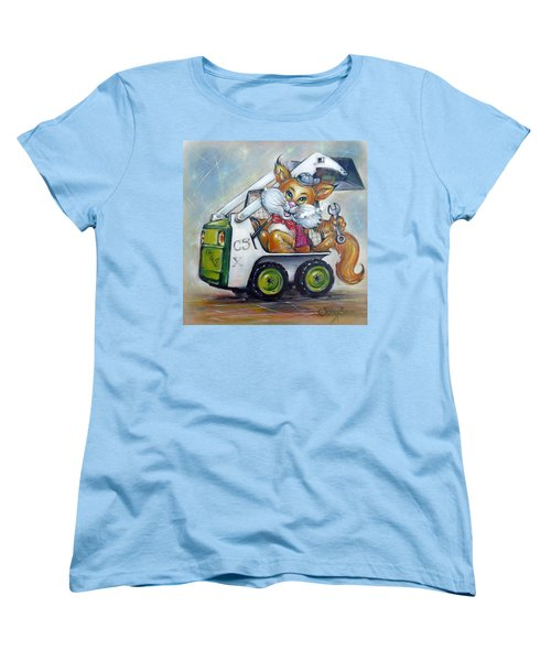 Women's T-Shirt (Standard Cut) featuring the painting Cat C5x 190312 by Selena Boron