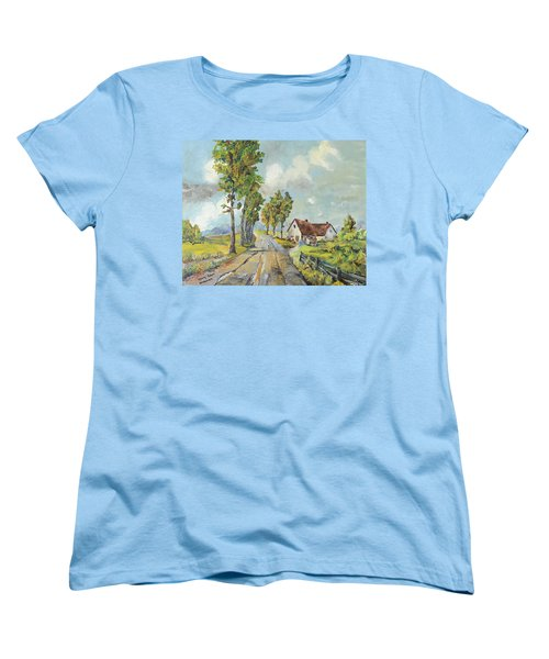 Women's T-Shirt (Standard Cut) featuring the painting Cottage On Poplar Lane by Mary Ellen Anderson
