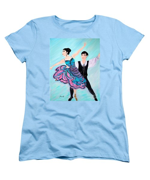 Women's T-Shirt (Standard Cut) featuring the painting Dance. Inspirations Collection. by Oksana Semenchenko
